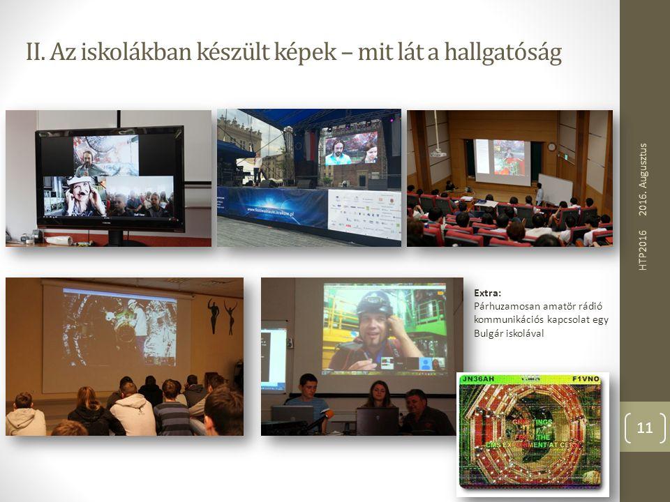 II. Az iskolákban készült képek – mit lát a hallgatóság 2016. Augusztus HTP2016 11 Extra: Párhuzamosan amatör rádió kommunikációs kapcsolat egy Bulgár