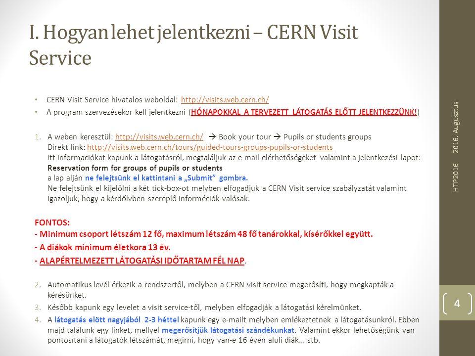I. Hogyan lehet jelentkezni – CERN Visit Service CERN Visit Service hivatalos weboldal: http://visits.web.cern.ch/http://visits.web.cern.ch/ A program
