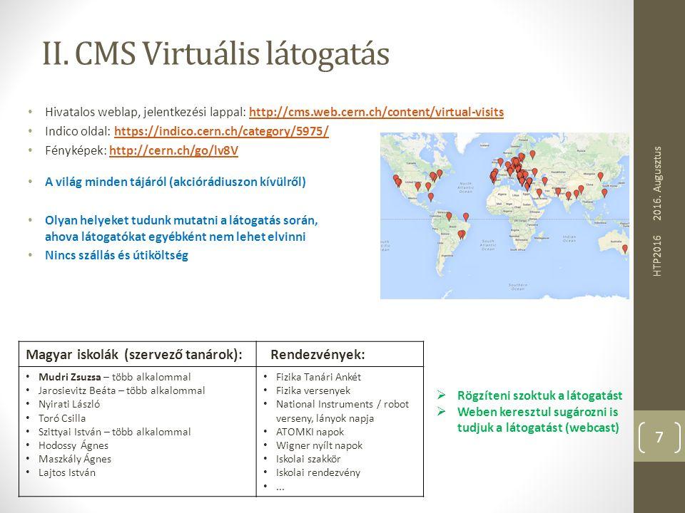 II. CMS Virtuális látogatás Hivatalos weblap, jelentkezési lappal: http://cms.web.cern.ch/content/virtual-visitshttp://cms.web.cern.ch/content/virtual