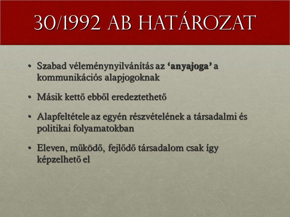 30/1992 AB határozat Szabad véleménynyilvánítás az 'anyajoga' a kommunikációs alapjogoknakSzabad véleménynyilvánítás az 'anyajoga' a kommunikációs ala