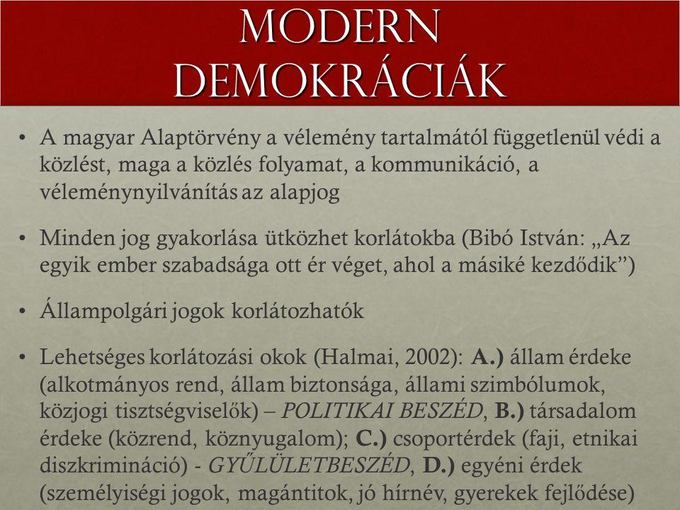 """Modern demokráciák A magyar Alaptörvény a vélemény tartalmától függetlenül védi a közlést, maga a közlés folyamat, a kommunikáció, a véleménynyilvánítás az alapjog Minden jog gyakorlása ütközhet korlátokba (Bibó István: """"Az egyik ember szabadsága ott ér véget, ahol a másiké kezd ő dik ) Állampolgári jogok korlátozhatók Lehetséges korlátozási okok (Halmai, 2002): A.) állam érdeke (alkotmányos rend, állam biztonsága, állami szimbólumok, közjogi tisztségvisel ő k) – POLITIKAI BESZÉD, B.) társadalom érdeke (közrend, köznyugalom); C.) csoportérdek (faji, etnikai diszkrimináció) - GY Ű LÜLETBESZÉD, D.) egyéni érdek (személyiségi jogok, magántitok, jó hírnév, gyerekek fejl ő dése)"""