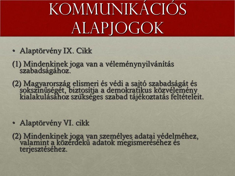Kommunikációs alapjogok Alaptörvény IX. CikkAlaptörvény IX. Cikk (1) Mindenkinek joga van a véleménynyilvánítás szabadságához. (2) Magyarország elisme