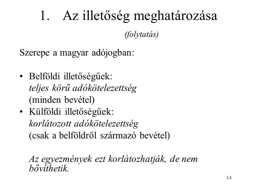 14 1.Az illetőség meghatározása (folytatás) Szerepe a magyar adójogban: Belföldi illetőségűek: teljes körű adókötelezettség (minden bevétel) Külföldi illetőségűek: korlátozott adókötelezettség (csak a belföldről származó bevétel) Az egyezmények ezt korlátozhatják, de nem bővíthetik.