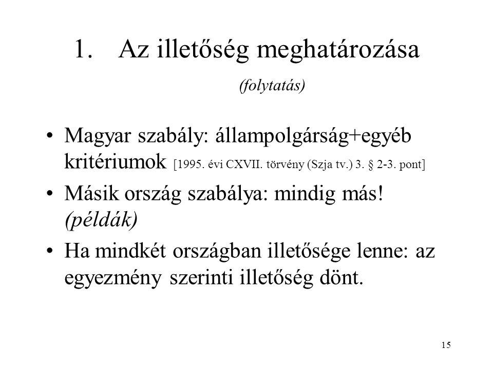 15 1.Az illetőség meghatározása (folytatás) Magyar szabály: állampolgárság+egyéb kritériumok [1995.