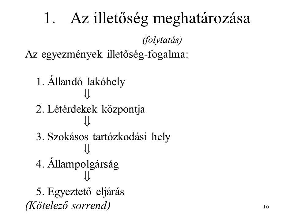 16 1.Az illetőség meghatározása (folytatás) Az egyezmények illetőség-fogalma: 1.