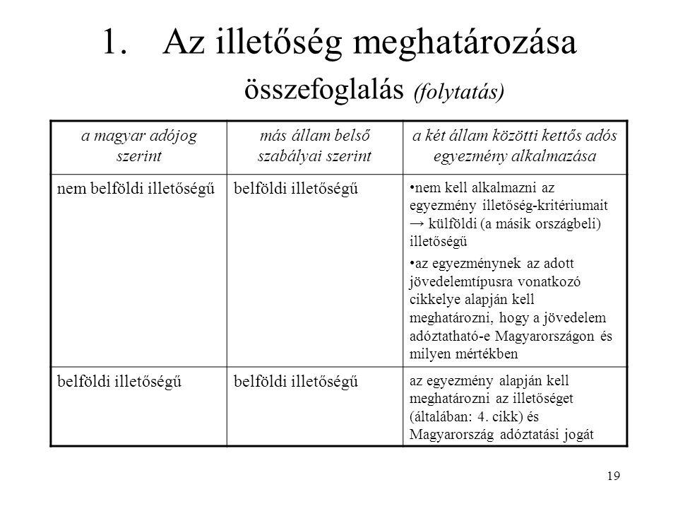 19 1.Az illetőség meghatározása összefoglalás (folytatás) a magyar adójog szerint más állam belső szabályai szerint a két állam közötti kettős adós egyezmény alkalmazása nem belföldi illetőségűbelföldi illetőségű nem kell alkalmazni az egyezmény illetőség-kritériumait → külföldi (a másik országbeli) illetőségű az egyezménynek az adott jövedelemtípusra vonatkozó cikkelye alapján kell meghatározni, hogy a jövedelem adóztatható-e Magyarországon és milyen mértékben belföldi illetőségű az egyezmény alapján kell meghatározni az illetőséget (általában: 4.