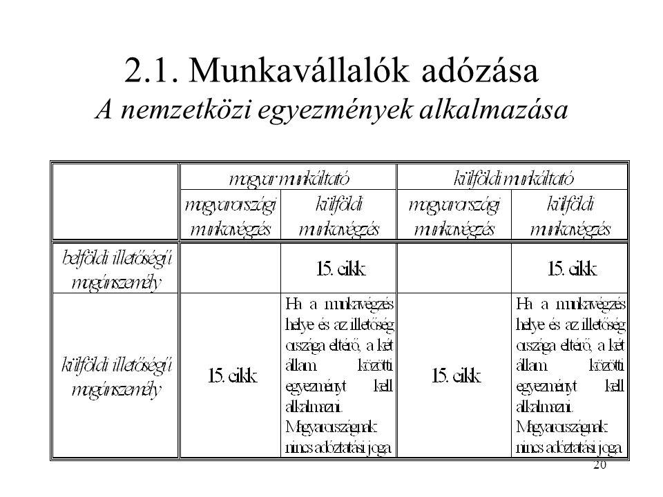 20 2.1. Munkavállalók adózása A nemzetközi egyezmények alkalmazása