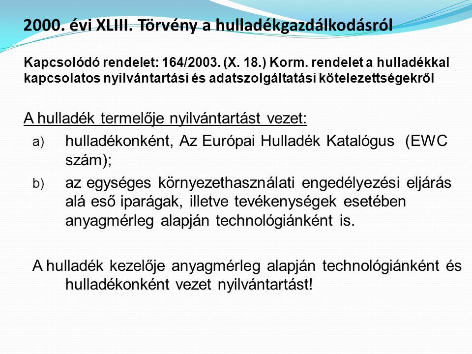 Kapcsolódó rendelet: 164/2003. (X. 18.) Korm. rendelet a hulladékkal kapcsolatos nyilvántartási és adatszolgáltatási kötelezettségekről A hulladék ter