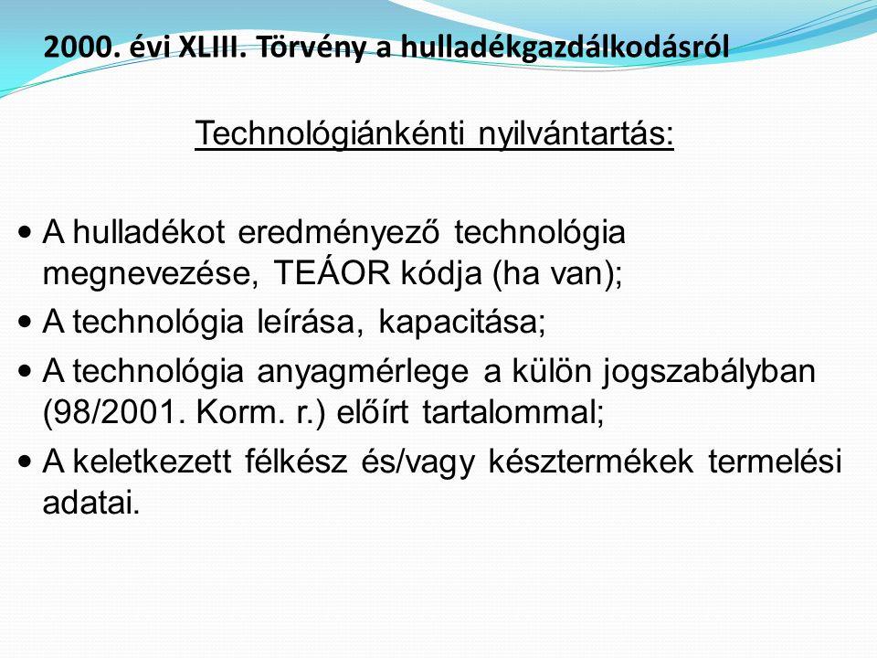 Technológiánkénti nyilvántartás: A hulladékot eredményező technológia megnevezése, TEÁOR kódja (ha van); A technológia leírása, kapacitása; A technoló