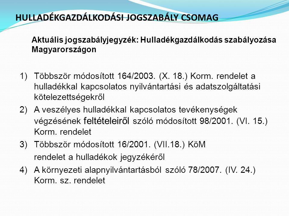 HULLADÉKGAZDÁLKODÁSI JOGSZABÁLY CSOMAG Aktuális jogszabályjegyzék : Hulladékgazdálkodás szabályozása Magyarországon 1)Többször módosított 164/2003. (X