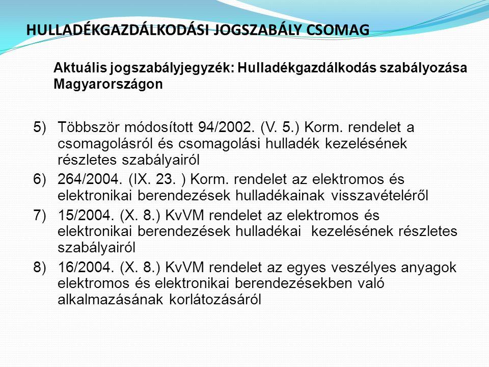 HULLADÉKGAZDÁLKODÁSI JOGSZABÁLY CSOMAG Aktuális jogszabályjegyzék : Hulladékgazdálkodás szabályozása Magyarországon 5)Többször módosított 94/2002. (V.