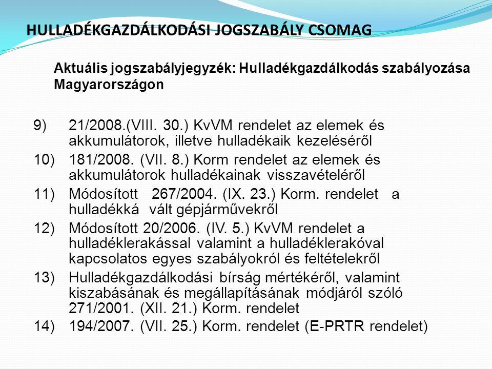 HULLADÉKGAZDÁLKODÁSI JOGSZABÁLY CSOMAG Aktuális jogszabályjegyzék : Hulladékgazdálkodás szabályozása Magyarországon 9)21/2008.(VIII. 30.) KvVM rendele