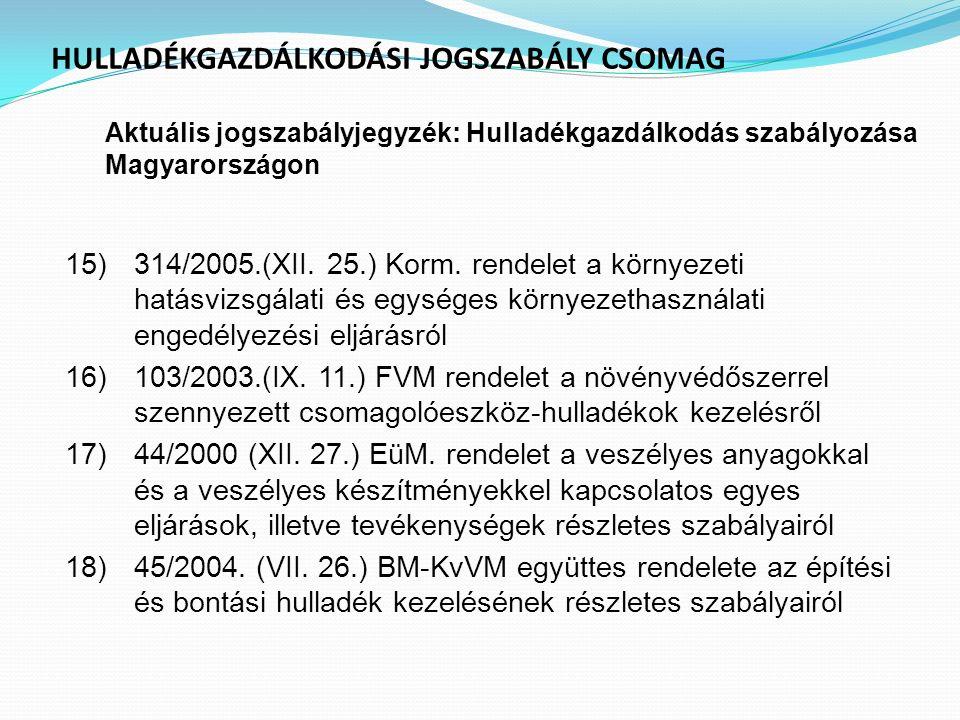 HULLADÉKGAZDÁLKODÁSI JOGSZABÁLY CSOMAG Aktuális jogszabályjegyzék : Hulladékgazdálkodás szabályozása Magyarországon 15)314/2005.(XII. 25.) Korm. rende