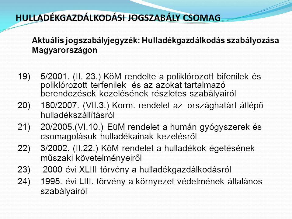 HULLADÉKGAZDÁLKODÁSI JOGSZABÁLY CSOMAG Aktuális jogszabályjegyzék : Hulladékgazdálkodás szabályozása Magyarországon 19)5/2001. (II. 23.) KöM rendelte