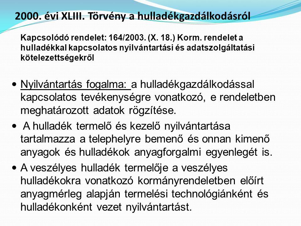 Kapcsolódó rendelet: 164/2003. (X. 18.) Korm. rendelet a hulladékkal kapcsolatos nyilvántartási és adatszolgáltatási kötelezettségekről Nyilvántartás