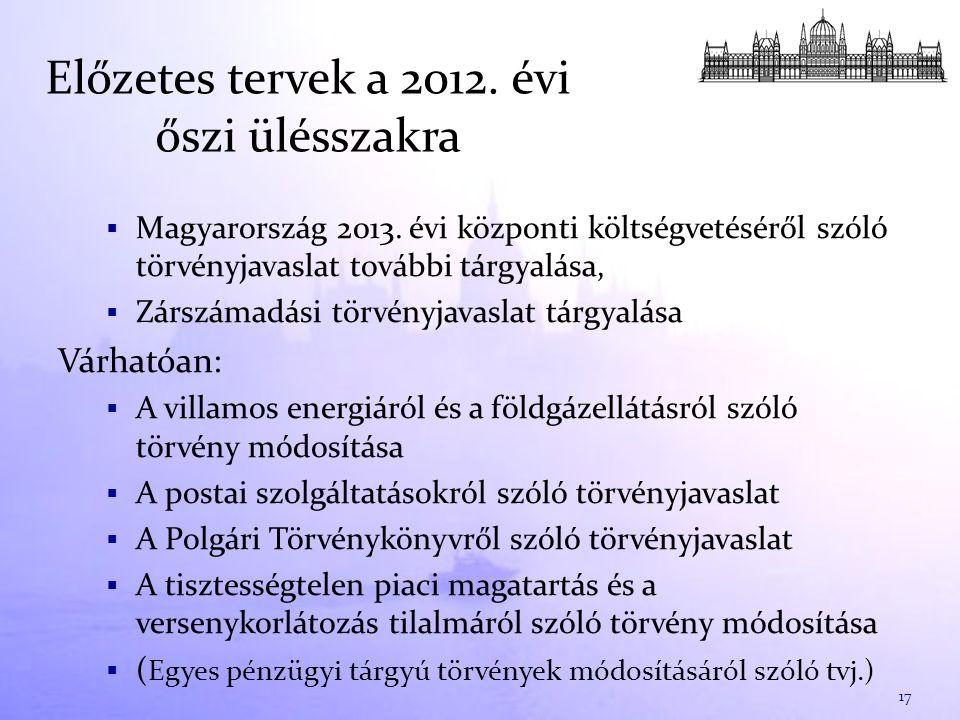 Előzetes tervek a 2012. évi őszi ülésszakra  Magyarország 2013.