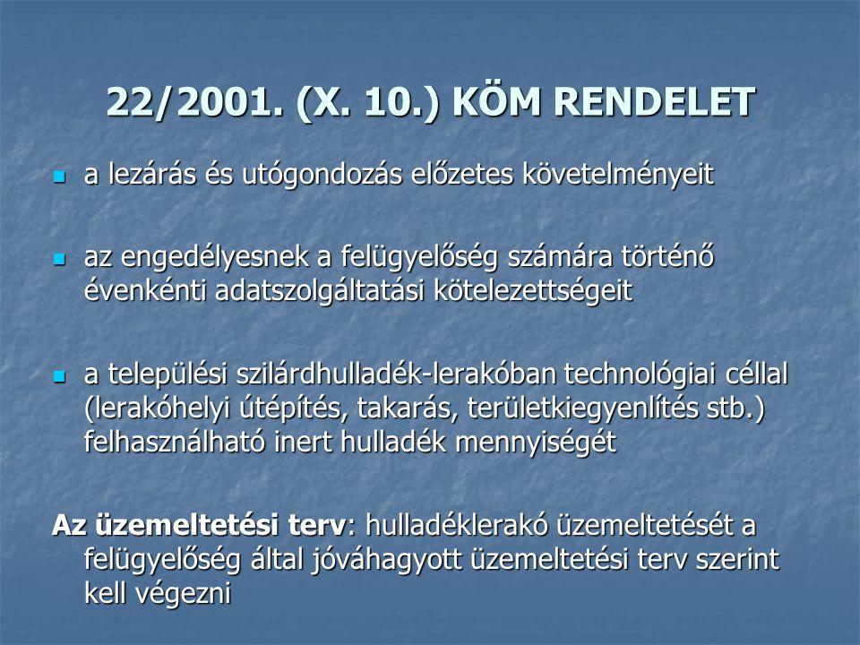 22/2001. (X. 10.) KÖM RENDELET a lezárás és utógondozás előzetes követelményeit a lezárás és utógondozás előzetes követelményeit az engedélyesnek a fe