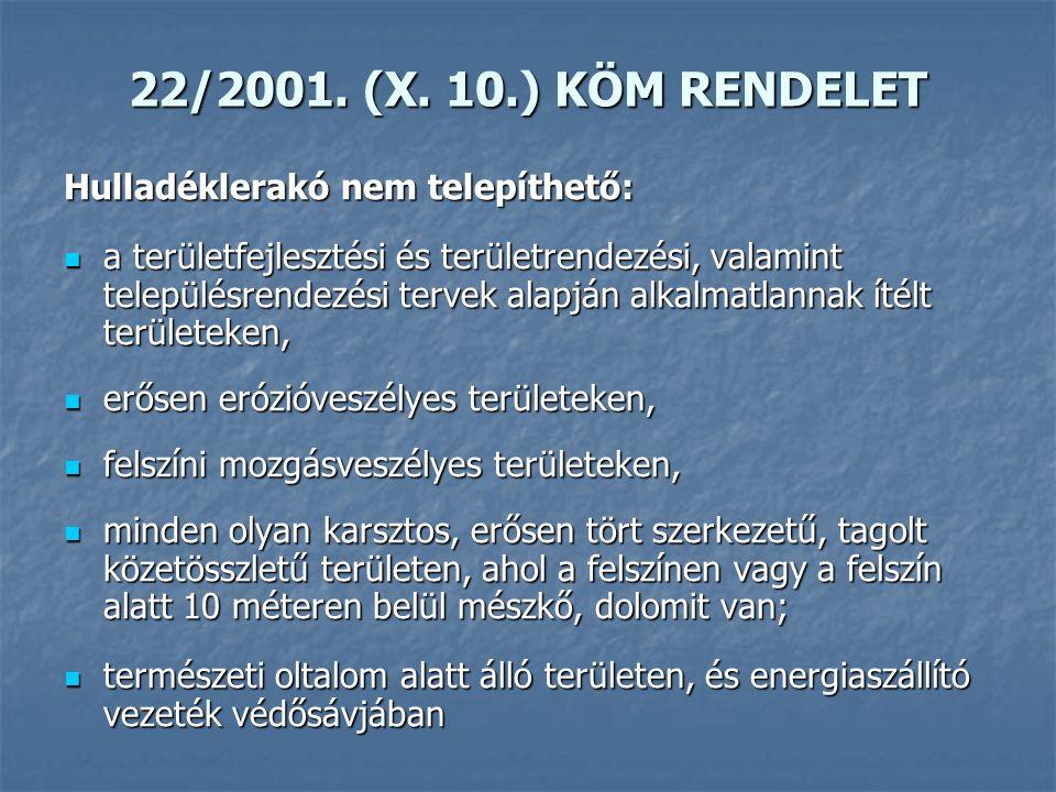 22/2001. (X. 10.) KÖM RENDELET Hulladéklerakó nem telepíthető: a területfejlesztési és területrendezési, valamint településrendezési tervek alapján al