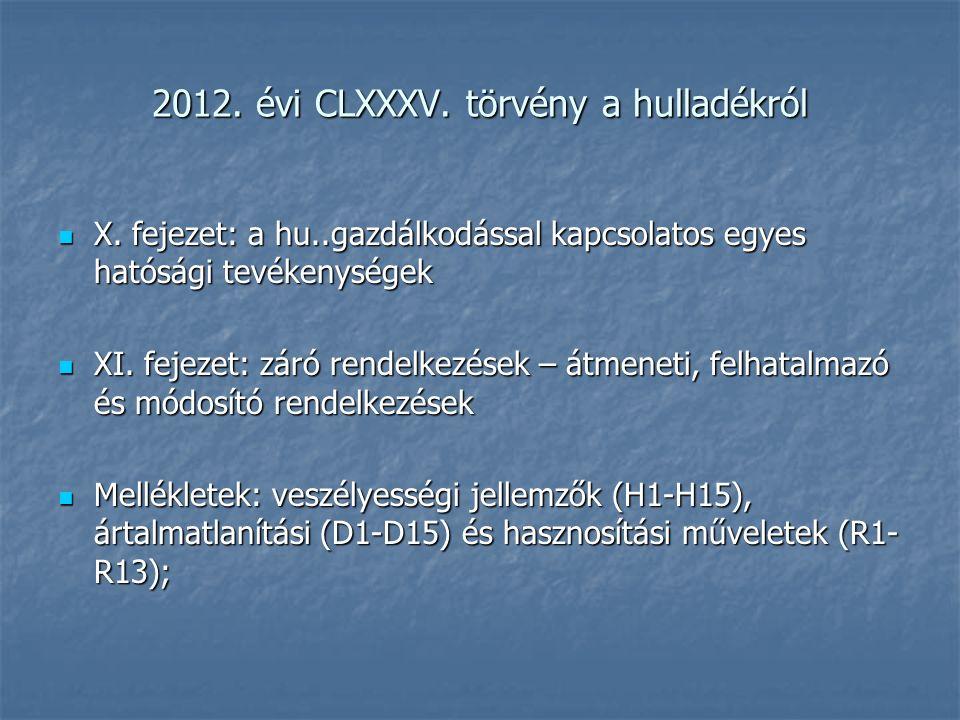 2012. évi CLXXXV. törvény a hulladékról X. fejezet: a hu..gazdálkodással kapcsolatos egyes hatósági tevékenységek X. fejezet: a hu..gazdálkodással kap