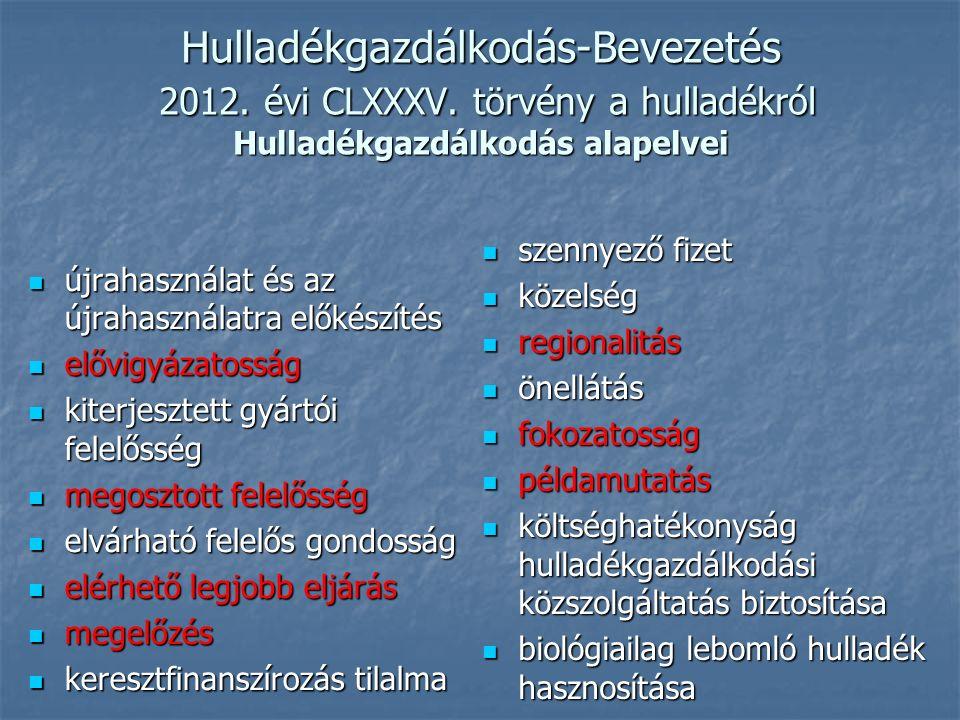 Hulladékgazdálkodás-Bevezetés 2012. évi CLXXXV. törvény a hulladékról Hulladékgazdálkodás alapelvei újrahasználat és az újrahasználatra előkészítés új
