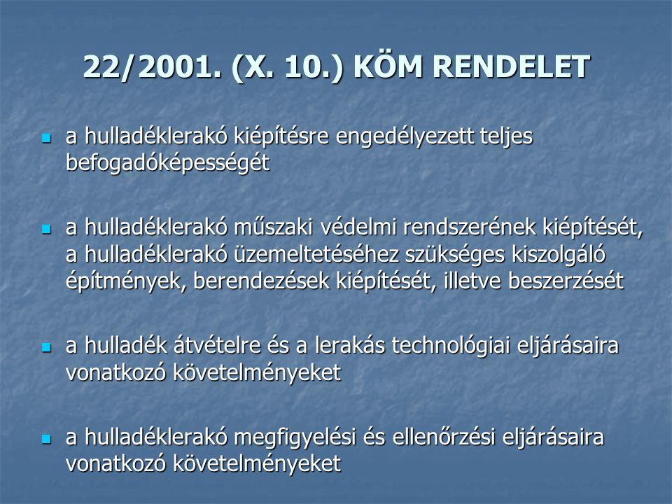 22/2001. (X. 10.) KÖM RENDELET a hulladéklerakó kiépítésre engedélyezett teljes befogadóképességét a hulladéklerakó kiépítésre engedélyezett teljes be