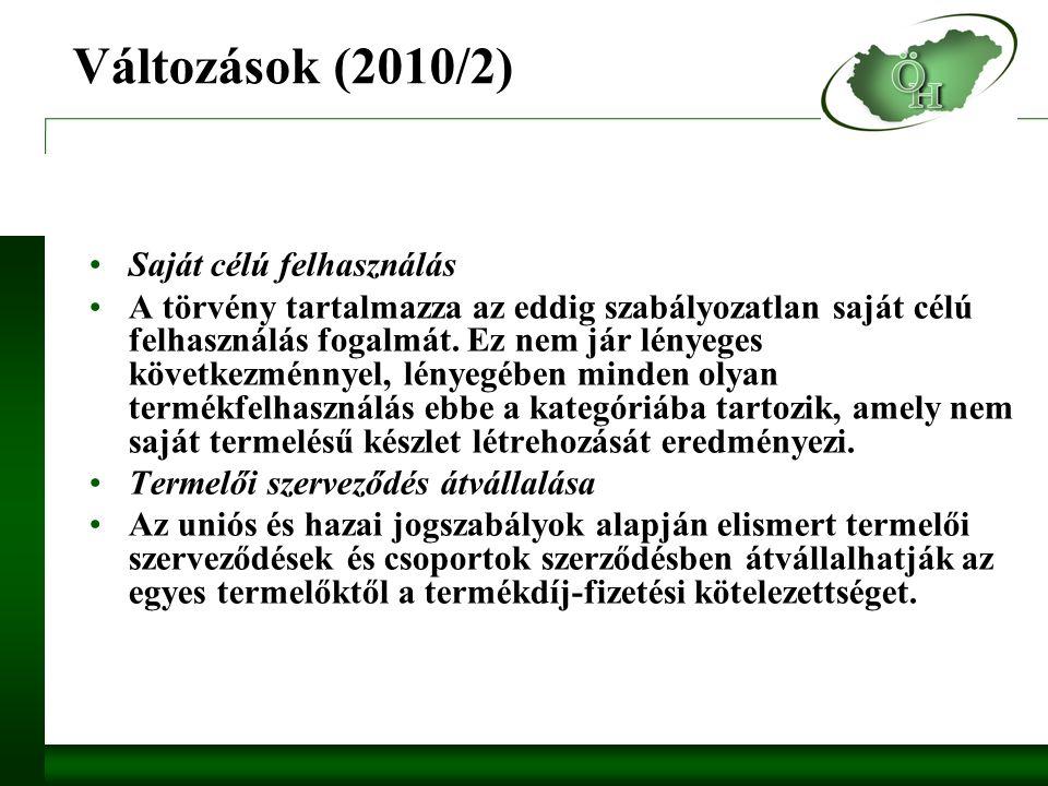 Változások (2010/2) Saját célú felhasználás A törvény tartalmazza az eddig szabályozatlan saját célú felhasználás fogalmát.