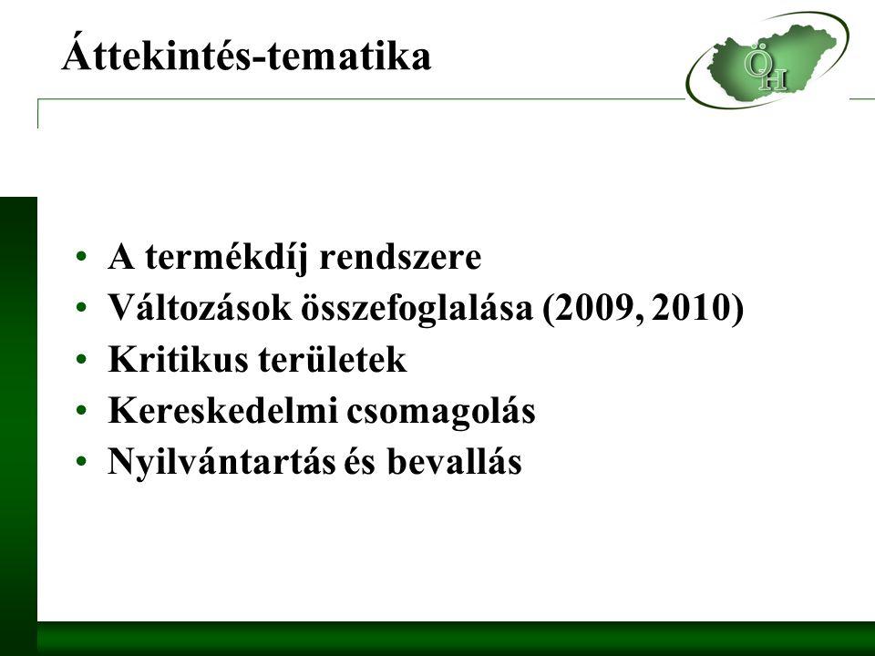 Áttekintés-tematika A termékdíj rendszere Változások összefoglalása (2009, 2010) Kritikus területek Kereskedelmi csomagolás Nyilvántartás és bevallás