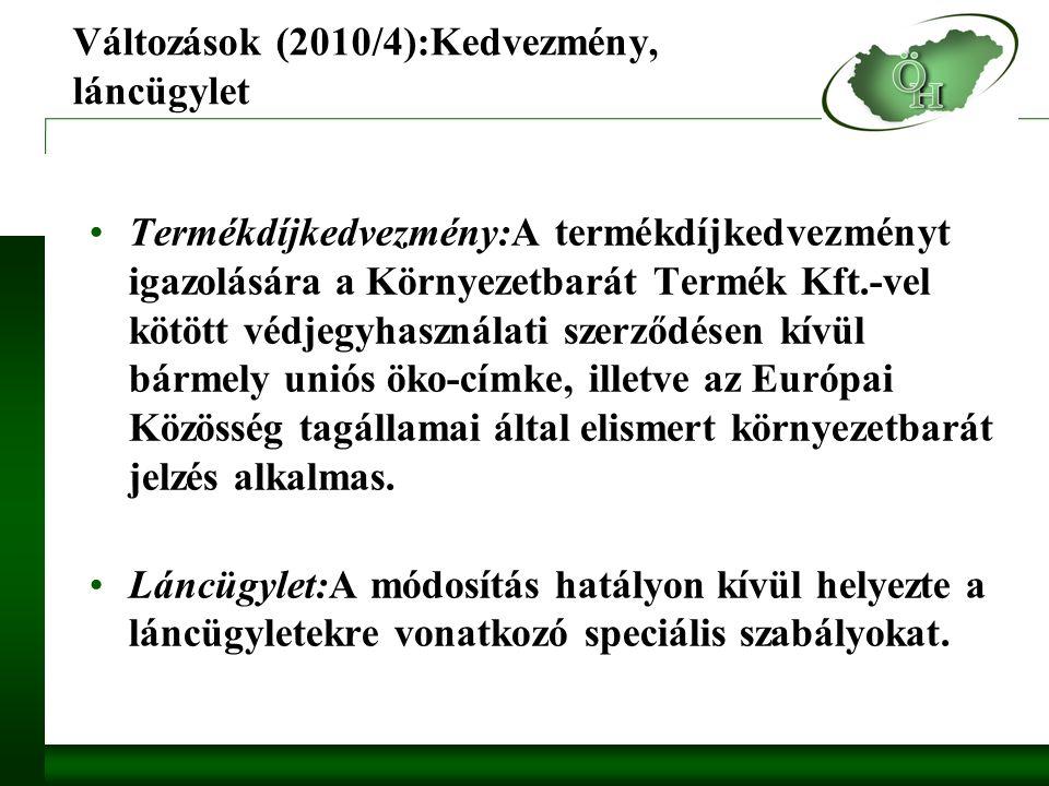 Változások (2010/4):Kedvezmény, láncügylet Termékdíjkedvezmény:A termékdíjkedvezményt igazolására a Környezetbarát Termék Kft.-vel kötött védjegyhasználati szerződésen kívül bármely uniós öko-címke, illetve az Európai Közösség tagállamai által elismert környezetbarát jelzés alkalmas.