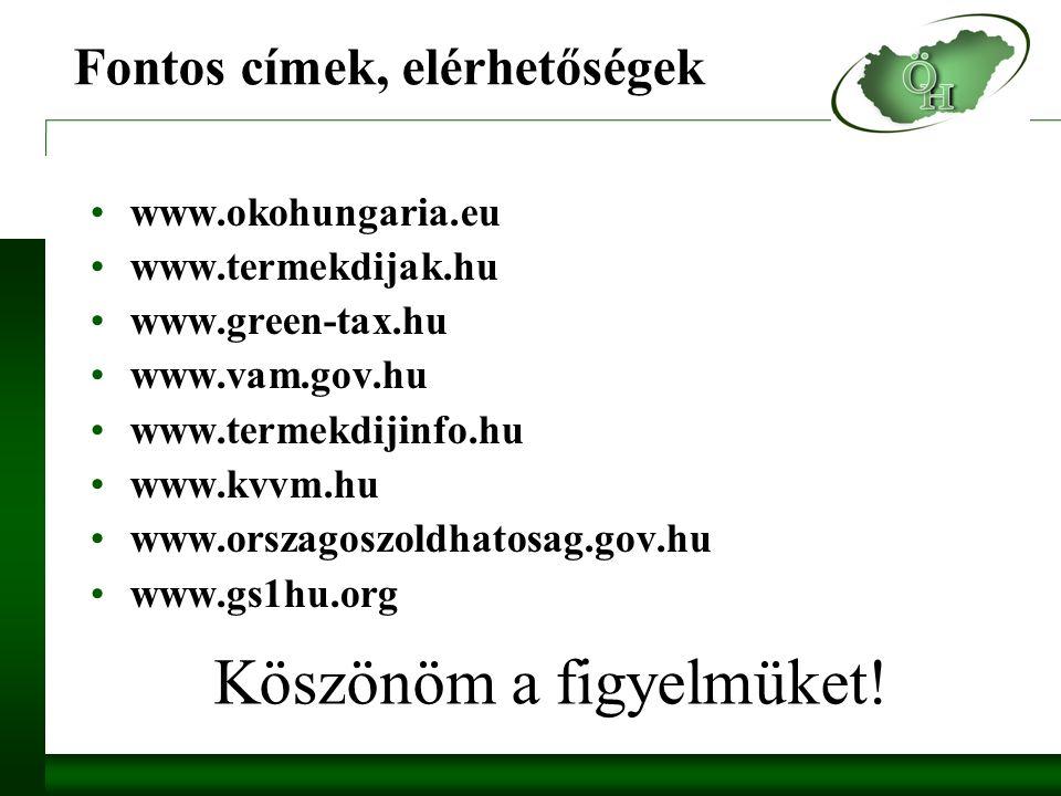 Fontos címek, elérhetőségek www.okohungaria.eu www.termekdijak.hu www.green-tax.hu www.vam.gov.hu www.termekdijinfo.hu www.kvvm.hu www.orszagoszoldhatosag.gov.hu www.gs1hu.org Köszönöm a figyelmüket!