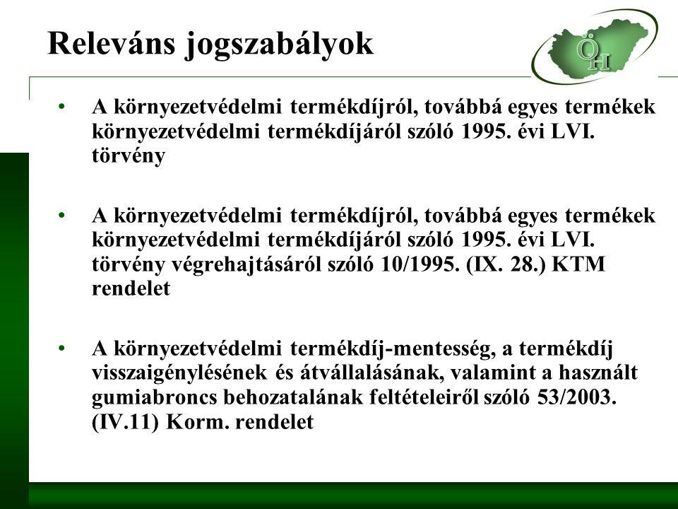 Releváns jogszabályok A környezetvédelmi termékdíjról, továbbá egyes termékek környezetvédelmi termékdíjáról szóló 1995.
