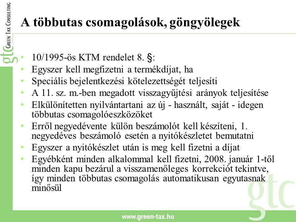 www.green-tax.hu A többutas csomagolások, göngyölegek 10/1995-ös KTM rendelet 8. §: Egyszer kell megfizetni a termékdíjat, ha Speciális bejelentkezési