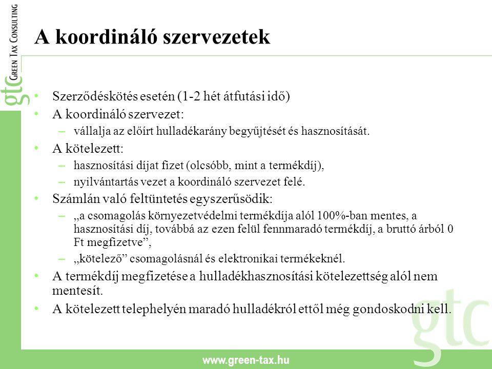 www.green-tax.hu A koordináló szervezetek Szerződéskötés esetén (1-2 hét átfutási idő) A koordináló szervezet: – vállalja az előírt hulladékarány begy