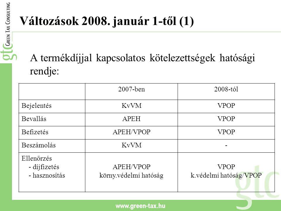 www.green-tax.hu Változások 2008. január 1-től (1) A termékdíjjal kapcsolatos kötelezettségek hatósági rendje: 2007-ben2008-tól BejelentésKvVMVPOP Bev