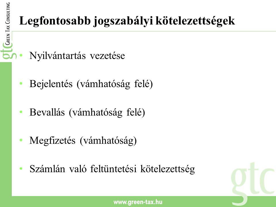 www.green-tax.hu Legfontosabb jogszabályi kötelezettségek Nyilvántartás vezetése Bejelentés (vámhatóság felé) Bevallás (vámhatóság felé) Megfizetés (v