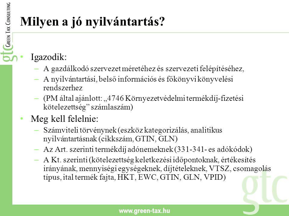 www.green-tax.hu Milyen a jó nyilvántartás? Igazodik: – A gazdálkodó szervezet méretéhez és szervezeti felépítéséhez, – A nyilvántartási, belső inform