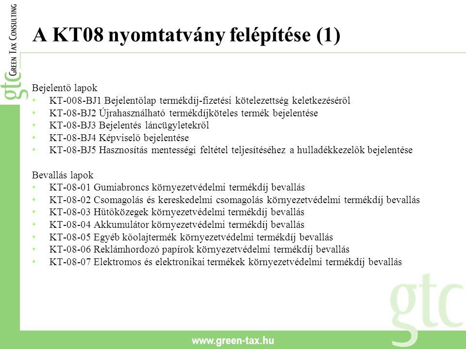 www.green-tax.hu A KT08 nyomtatvány felépítése (1) Bejelentő lapok KT-008-BJ1 Bejelentőlap termékdíj-fizetési kötelezettség keletkezéséről KT-08-BJ2 Újrahasználható termékdíjköteles termék bejelentése KT-08-BJ3 Bejelentés láncügyletekről KT-08-BJ4 Képviselő bejelentése KT-08-BJ5 Hasznosítás mentességi feltétel teljesítéséhez a hulladékkezelők bejelentése Bevallás lapok KT-08-01 Gumiabroncs környezetvédelmi termékdíj bevallás KT-08-02 Csomagolás és kereskedelmi csomagolás környezetvédelmi termékdíj bevallás KT-08-03 Hűtőközegek környezetvédelmi termékdíj bevallás KT-08-04 Akkumulátor környezetvédelmi termékdíj bevallás KT-08-05 Egyéb kőolajtermék környezetvédelmi termékdíj bevallás KT-08-06 Reklámhordozó papírok környezetvédelmi termékdíj bevallás KT-08-07 Elektromos és elektronikai termékek környezetvédelmi termékdíj bevallás