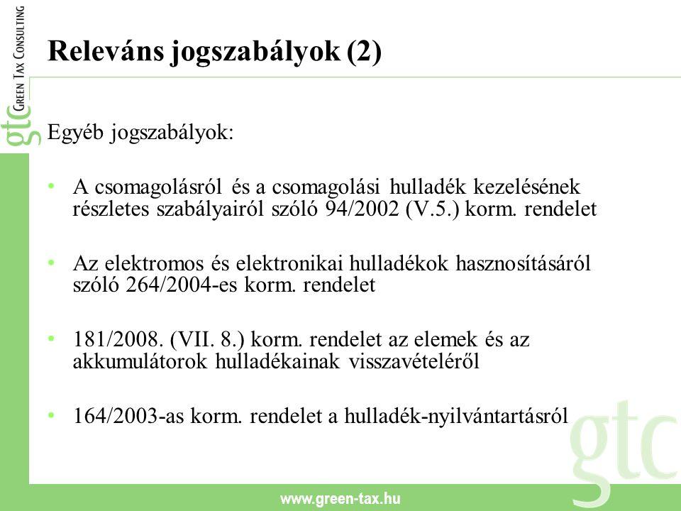 www.green-tax.hu Releváns jogszabályok (2) Egyéb jogszabályok: A csomagolásról és a csomagolási hulladék kezelésének részletes szabályairól szóló 94/2002 (V.5.) korm.