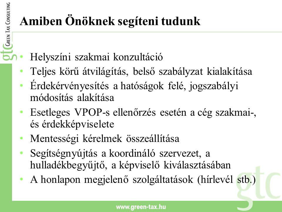 www.green-tax.hu Amiben Önöknek segíteni tudunk Helyszíni szakmai konzultáció Teljes körű átvilágítás, belső szabályzat kialakítása Érdekérvényesítés