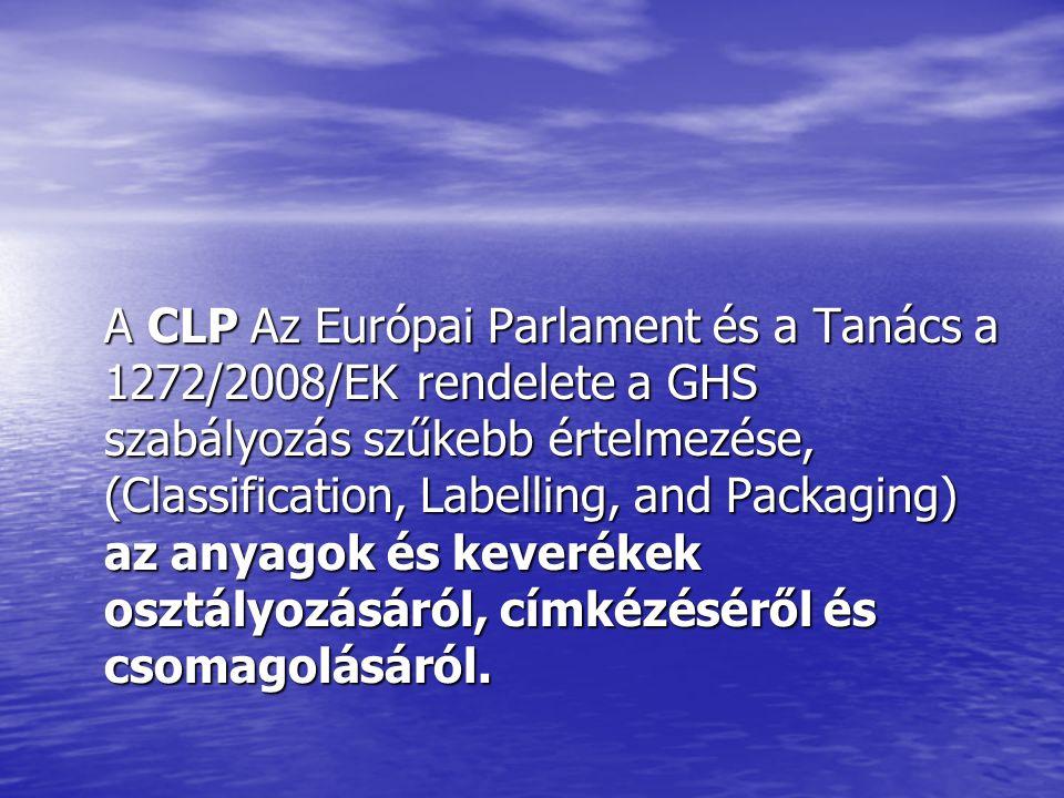 A CLP Az Európai Parlament és a Tanács a 1272/2008/EK rendelete a GHS szabályozás szűkebb értelmezése, (Classification, Labelling, and Packaging) az anyagok és keverékek osztályozásáról, címkézéséről és csomagolásáról.
