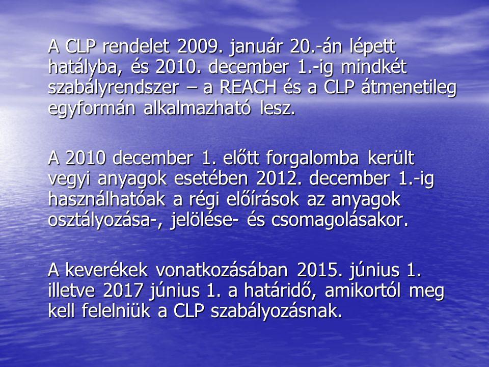 A CLP rendelet 2009. január 20.-án lépett hatályba, és 2010.