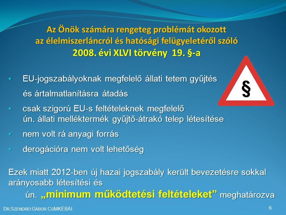 Az állati melléktermékek ártalmatlanítását szabályozó rendeletek H AZAI LEGFŐBB JOGSZABÁLY : A nem emberi fogyasztásra szánt állati eredetű melléktermékekre vonatkozó állategészségügyi szabályok megállapításáról szóló 45/2012.