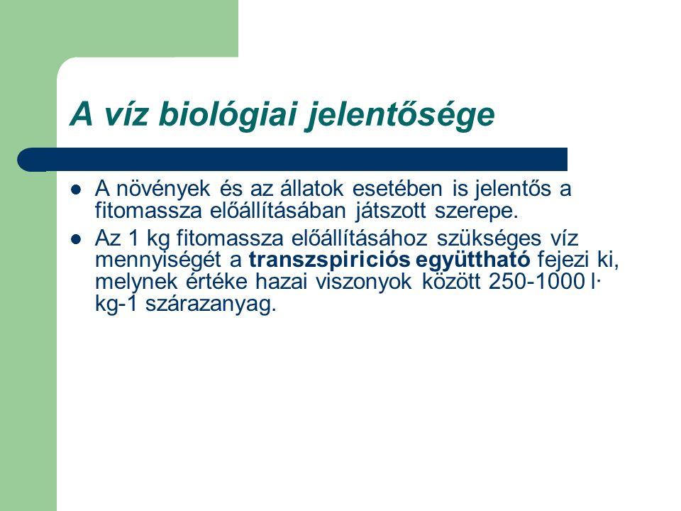 A víz biológiai jelentősége A növények és az állatok esetében is jelentős a fitomassza előállításában játszott szerepe. Az 1 kg fitomassza előállításá
