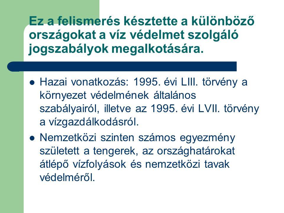 Ez a felismerés késztette a különböző országokat a víz védelmet szolgáló jogszabályok megalkotására. Hazai vonatkozás: 1995. évi LIII. törvény a körny