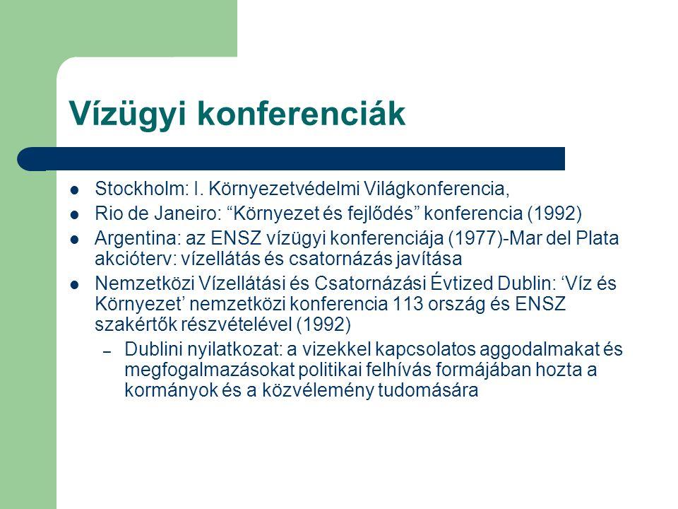 """Vízügyi konferenciák Stockholm: I. Környezetvédelmi Világkonferencia, Rio de Janeiro: """"Környezet és fejlődés"""" konferencia (1992) Argentina: az ENSZ ví"""