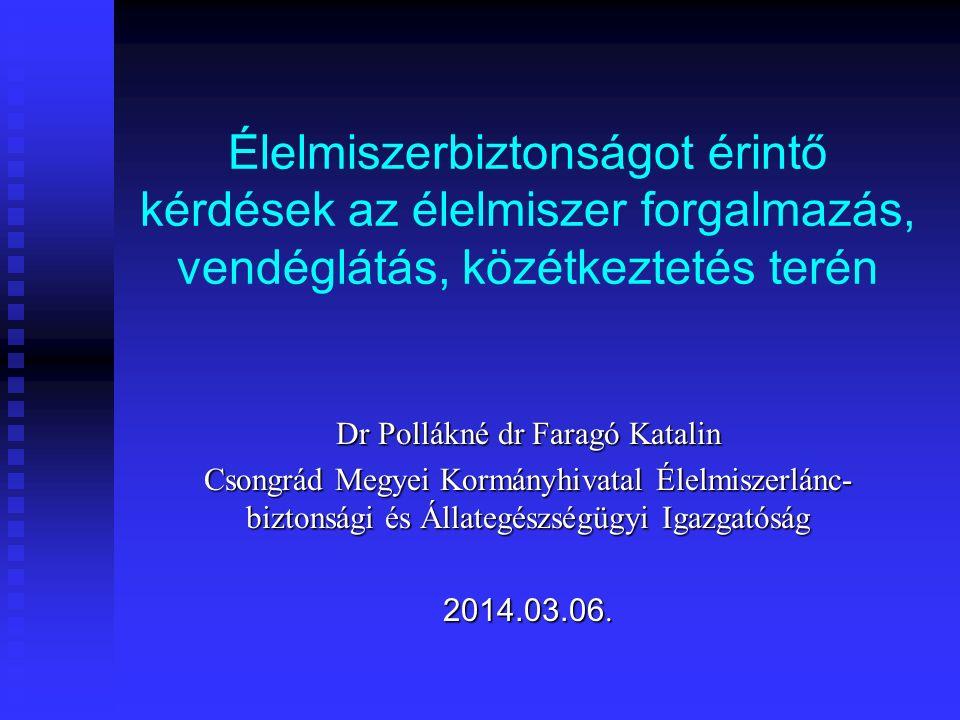 Élelmiszerbiztonságot érintő kérdések az élelmiszer forgalmazás, vendéglátás, közétkeztetés terén Dr Pollákné dr Faragó Katalin Csongrád Megyei Kormányhivatal Élelmiszerlánc- biztonsági és Állategészségügyi Igazgatóság 2014.03.06.
