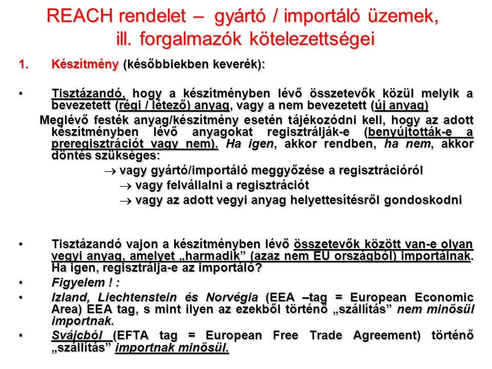 REACH rendelet – gyártó / importáló üzemek, ill.