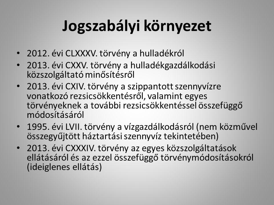 Jogszabályi környezet 2012. évi CLXXXV. törvény a hulladékról 2013. évi CXXV. törvény a hulladékgazdálkodási közszolgáltató minősítésről 2013. évi CXI