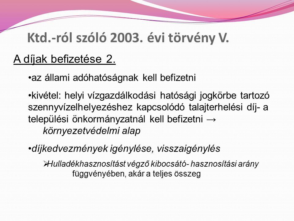 Ktd.-ról szóló 2003. évi törvény V. A díjak befizetése 2.