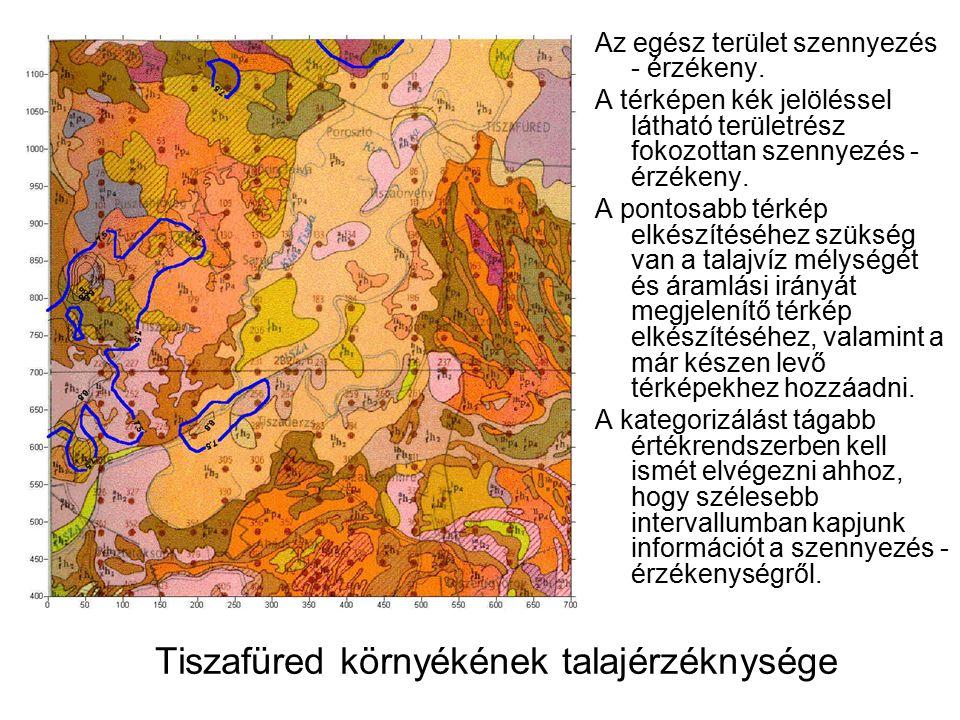 Tiszafüred környékének talajérzéknysége Az egész terület szennyezés - érzékeny.