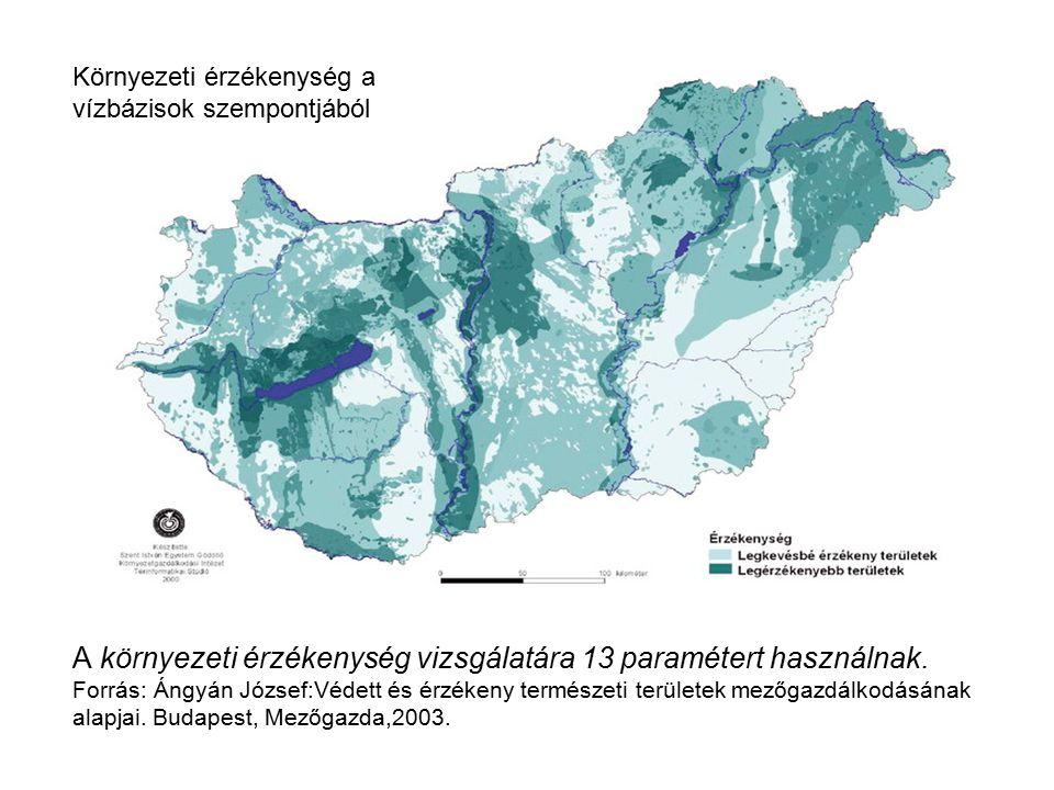 A környezeti érzékenység vizsgálatára 13 paramétert használnak.